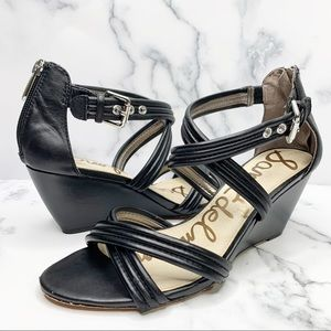SAM EDELMAN Sloan Wedge Sandals Black Size 6